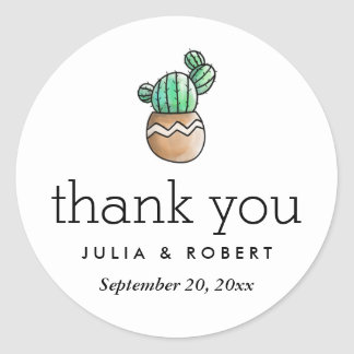Succulent Cactus Rustic Minimal Wedding Thank You Round Sticker