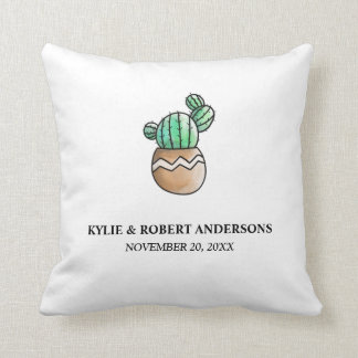 Succulent Cactus Rustic Minimal Wedding Throw Pillow