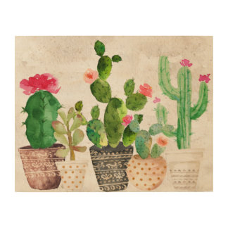 Succulent Cactus Wood Wall Art Wood Print