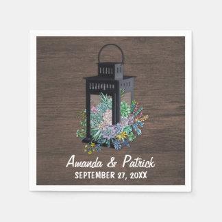 Succulent Country Rustic Lantern Wedding Napkins Paper Napkins