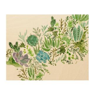 Succulent Field I Wood Print