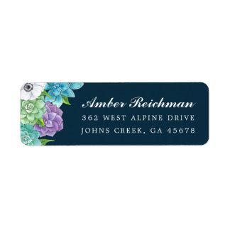 Succulent Florals Return Address Labels | Navy