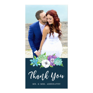 Succulent Florals Wedding Thank You Card | Navy