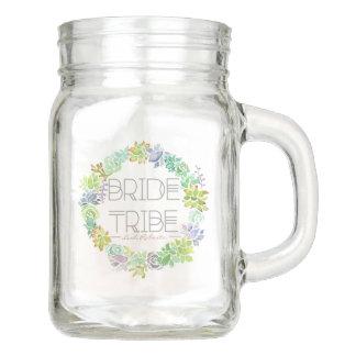 Succulent Garden Bride Tribe | Wedding Party Mason Jar