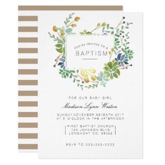 Succulent Garden | Floral Watercolor Baptism Card