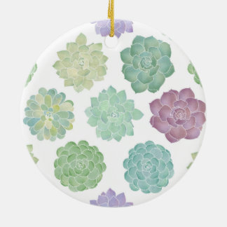 Succulent Garden Pattern Ceramic Ornament