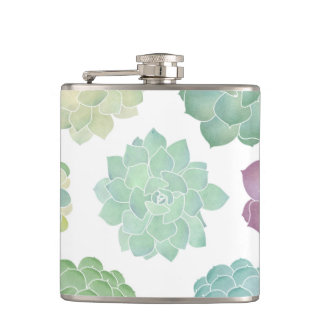 Succulent Garden Pattern Hip Flask