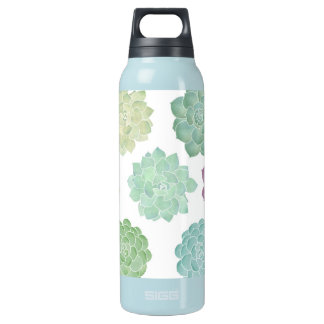 Succulent Garden Pattern Insulated Water Bottle