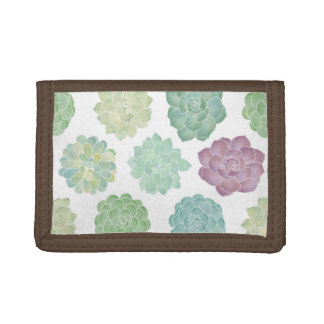 Succulent Garden Pattern Tri-fold Wallets