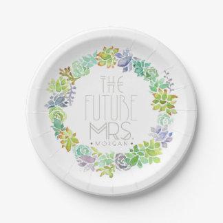 Succulent Garden | Watercolor Bridal Shower 7 Inch Paper Plate