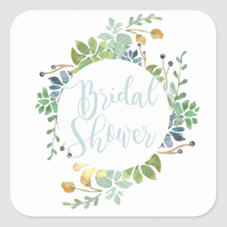 Succulent Garden | Watercolor Bridal Shower Square Sticker
