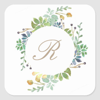 Succulent Garden | Watercolor Initial Square Sticker