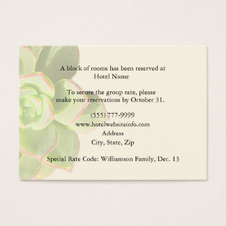 Succulent Hotel Accommodation Enclosure Cards