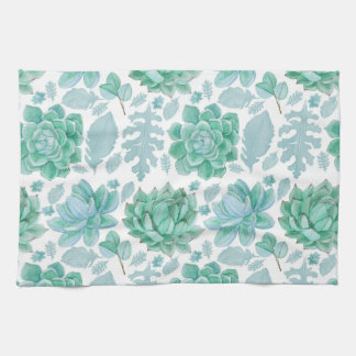 Succulent kitchen towel, nature decor theme tea towel