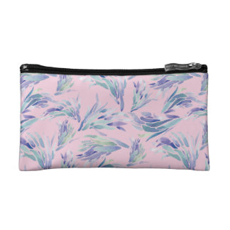 Succulent Pattern Pink Pouch- watercolor Cosmetic Bag