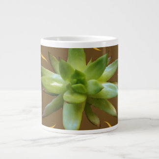 Succulent plant natural, brown and gold mug