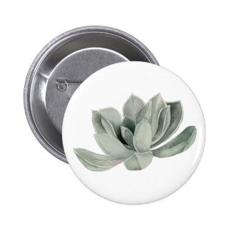 Succulent Plant Watercolor Painting 6 Cm Round Badge