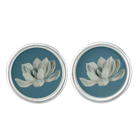 Succulent Plant Watercolor Painting Cuff Links