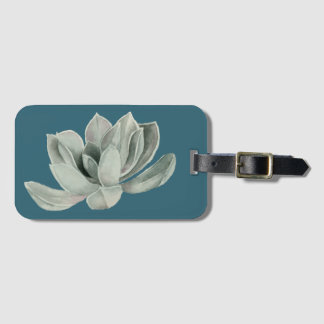 Succulent Plant Watercolor Painting Luggage Tag