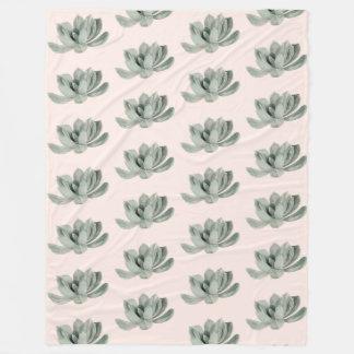 Succulent Plant Watercolor Painting Pattern Fleece Blanket