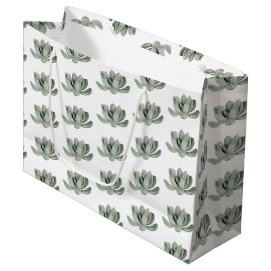 Succulent Plant Watercolor Painting Pattern Large Gift Bag