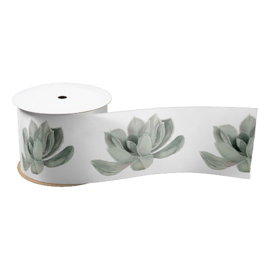 Succulent Plant Watercolor Painting Satin Ribbon