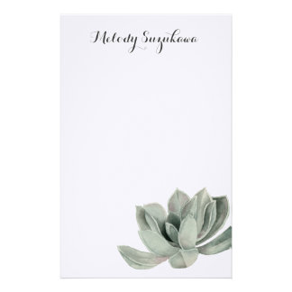 Succulent Plant Watercolor Painting with Name Stationery