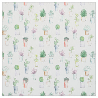 Succulent plants and cactus in pots Fabric