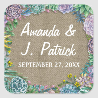 Succulent Rustic Burlap Wedding Favor Stickers