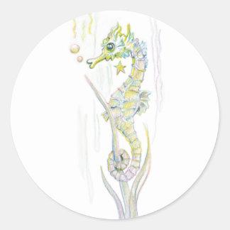 Succulent Seahorse Classic Round Sticker