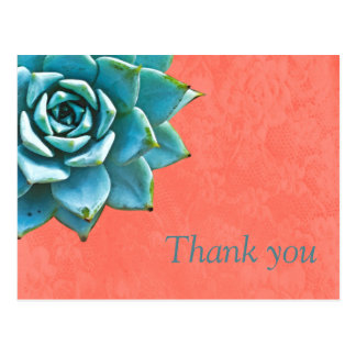 Succulent Thank You Watercolor Orange Lace Postcard