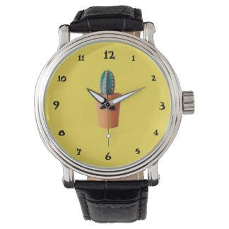 Succulent - Vintage black leather clock Watch
