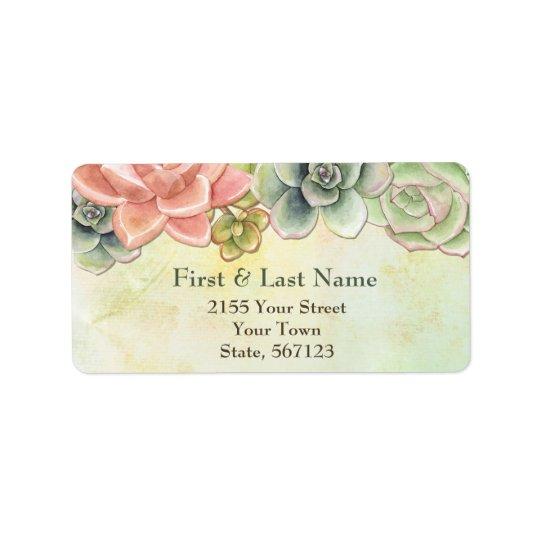 Succulent Watercolor Floral Address Label