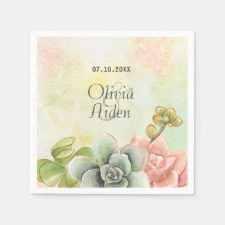 Succulent Watercolor Floral Wedding Disposable Napkin