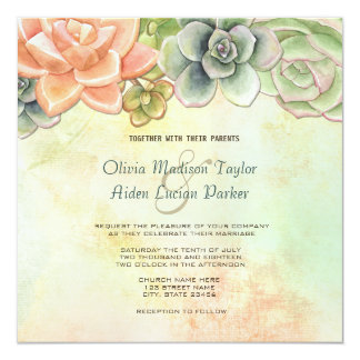 Succulent Watercolor Floral Wedding Invitation
