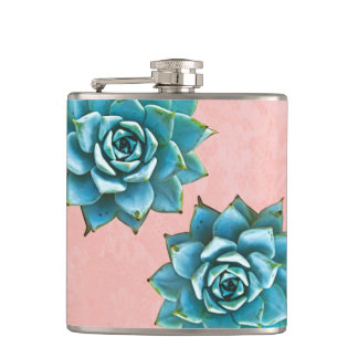 Succulent Watercolor on Pink Lace Hip Flask