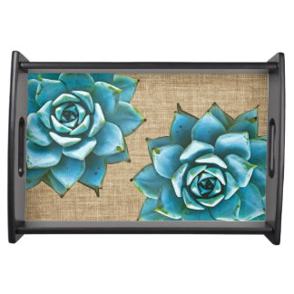 Succulent Watercolor on Tan Burlap Serving Tray