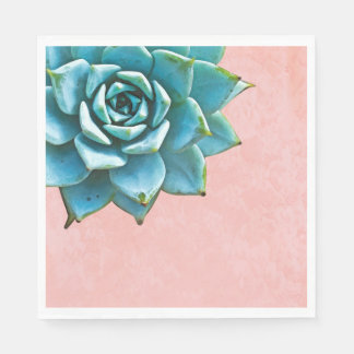 Succulent Watercolor Pink Lace Disposable Serviette