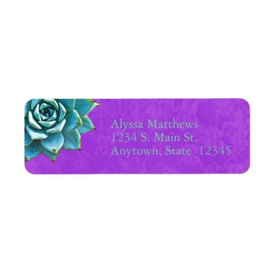 Succulent Watercolor Purple Lace Return Address Label