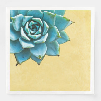 Succulent Watercolor Yellow Lace Disposable Napkin