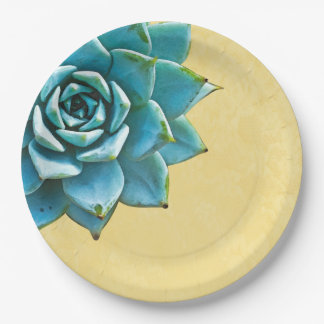 Succulent Watercolor Yellow Lace Paper Plate