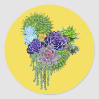 Succulent-wedding-bouquet Classic Round Sticker