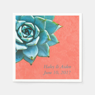 Succulent Wedding Engagement Watercolor Orange Disposable Serviette