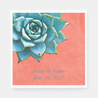 Succulent Wedding Engagement Watercolor Orange Paper Napkin