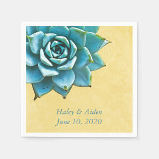 Succulent Wedding Engagement Watercolor Yellow Paper Napkin