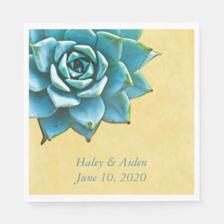 Succulent Wedding Engagement Watercolor Yellow Paper Serviettes
