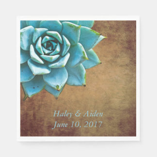 Succulent Wedding or Engagement Rustic Brown Disposable Napkin