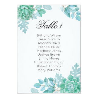 Succulent wedding seating chart. Cactus table plan Card