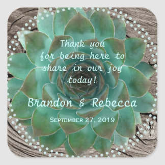 Succulent Wedding Square Favor Labels Message