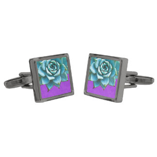 Succulent Wedding Watercolor Purple Lace Gunmetal Finish Cufflinks